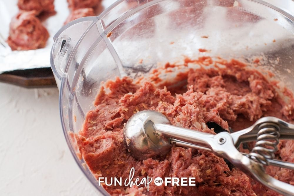 ground meat for meatballs, from Fun Cheap or Free
