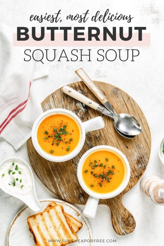 Butternut squash soup on a platter, from Fun Cheap or Free