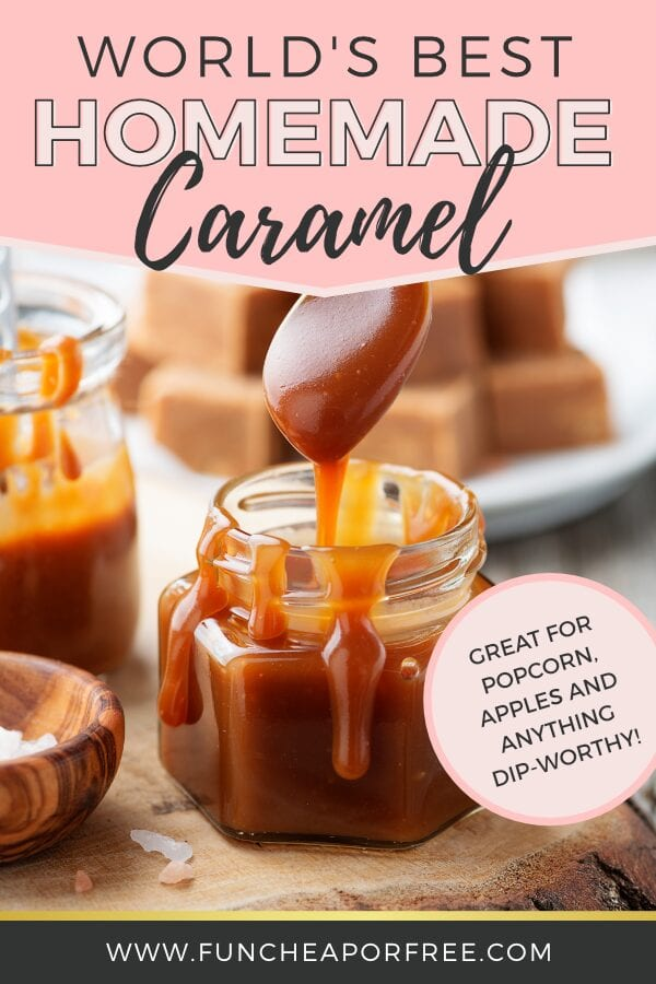 Spoon dipping homemade caramel in a jar, from Fun Cheap or Free