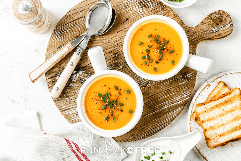 bowls roasted butternut squash soup, from Fun Cheap or Free