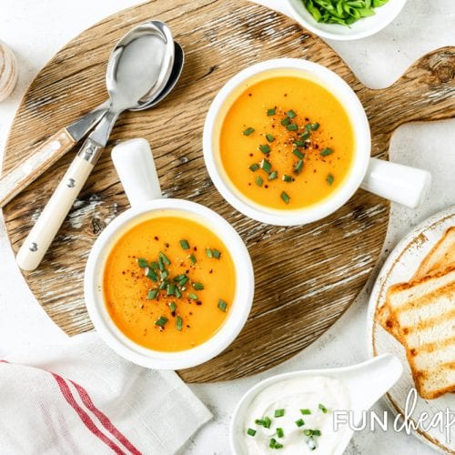 A delicious and easy butternut squash soup recipe from Fun Cheap or Free