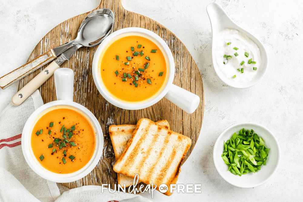 butternut squash soup with a grilled cheese sandwich, from Fun Cheap or Free