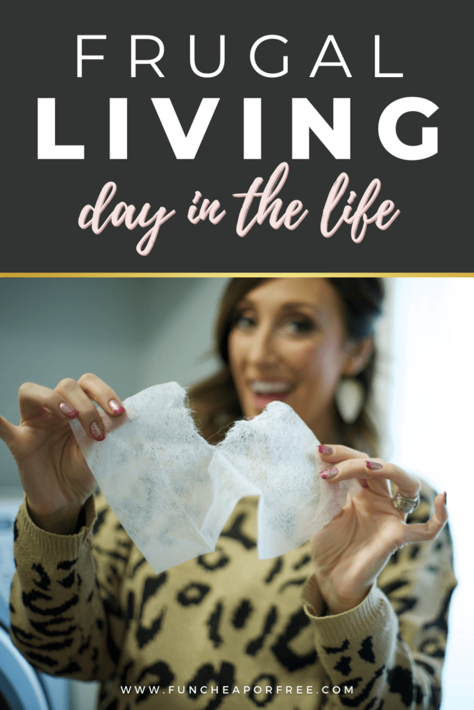 "Image with text that reads ""frugal living day in the life"" from Fun Cheap or Free"