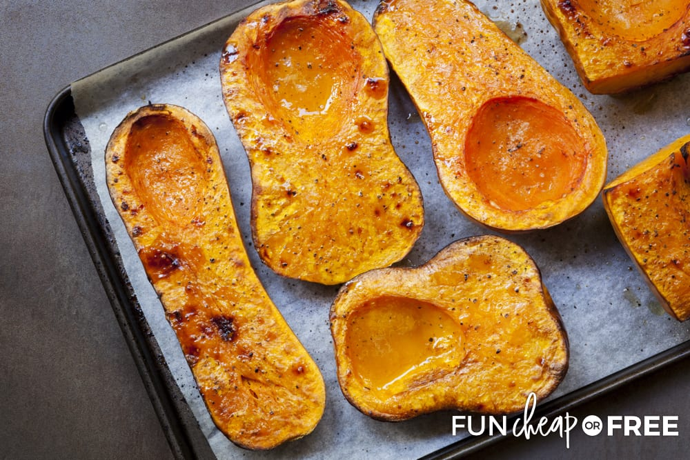 Roasted butternut squash on a baking sheet, from Fun Cheap or Free