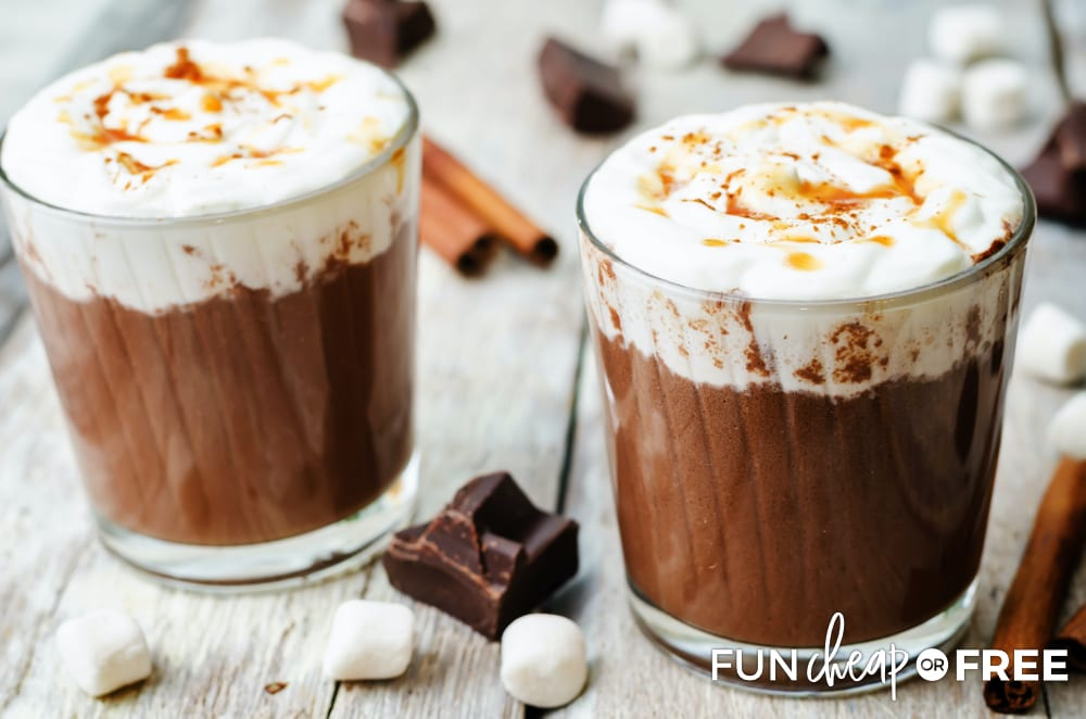 Salted caramel hot chocolate makes for a great fall drink - Tips from Fun Cheap or Free