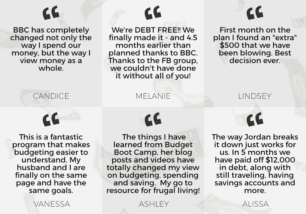 Budget Boot Camp testimonials from Fun Cheap or Free