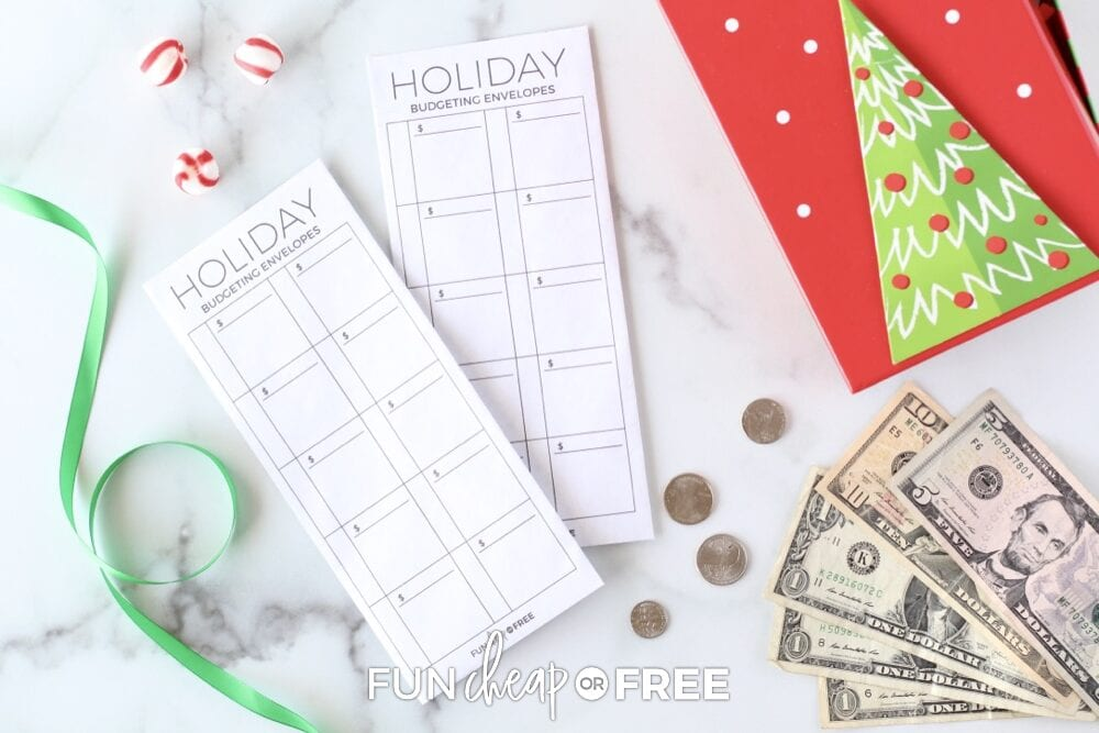 Holiday budget tracker envelopes from Fun Cheap or Free