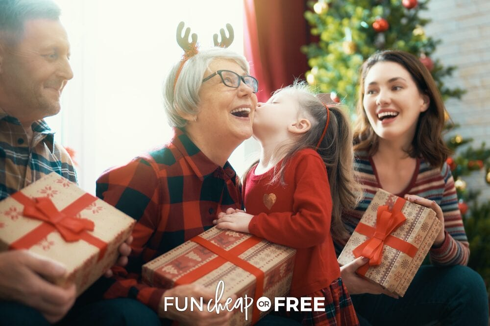 Little girl giving grandmother Christmas present, from Fun Cheap or Free