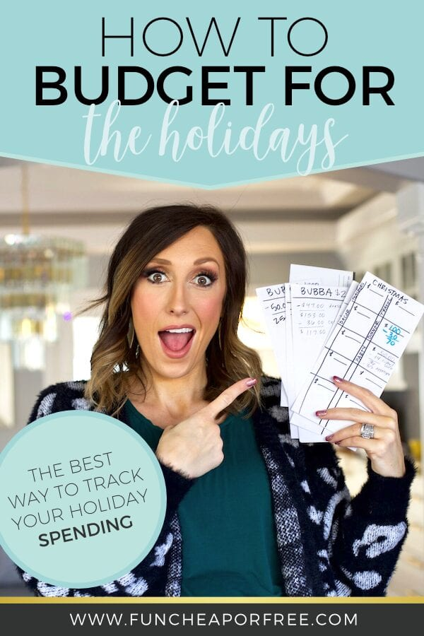 Woman pointing at holiday spending tracking envelopes, from Fun Cheap or Free