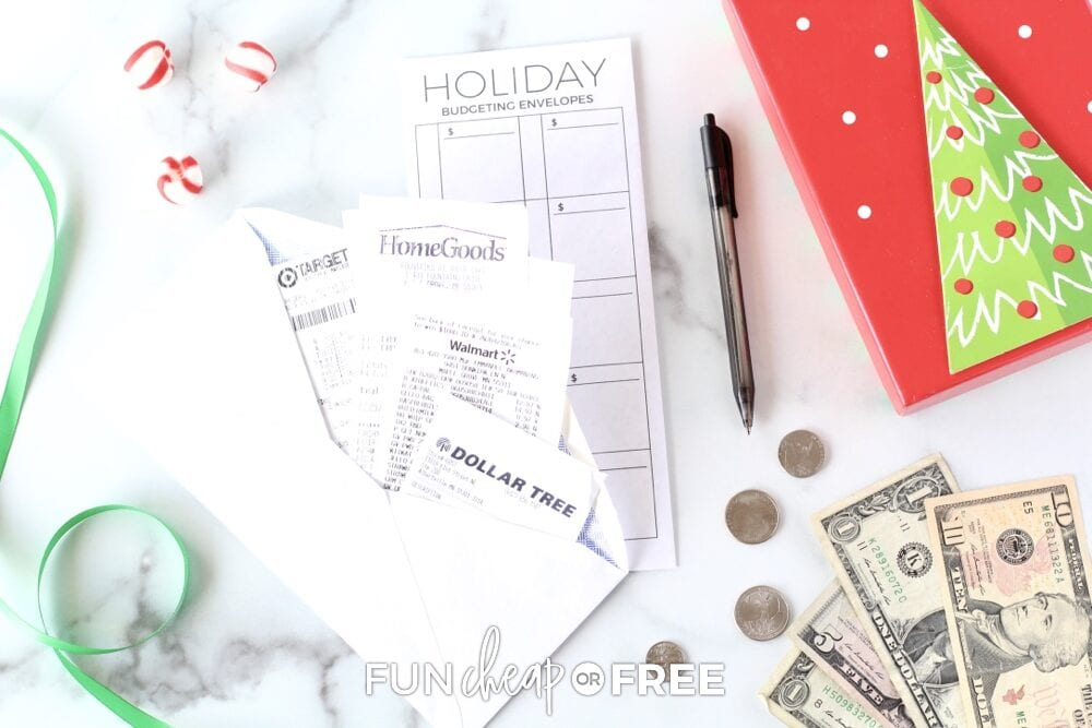 Receipts in an envelope, from Fun Cheap or Free