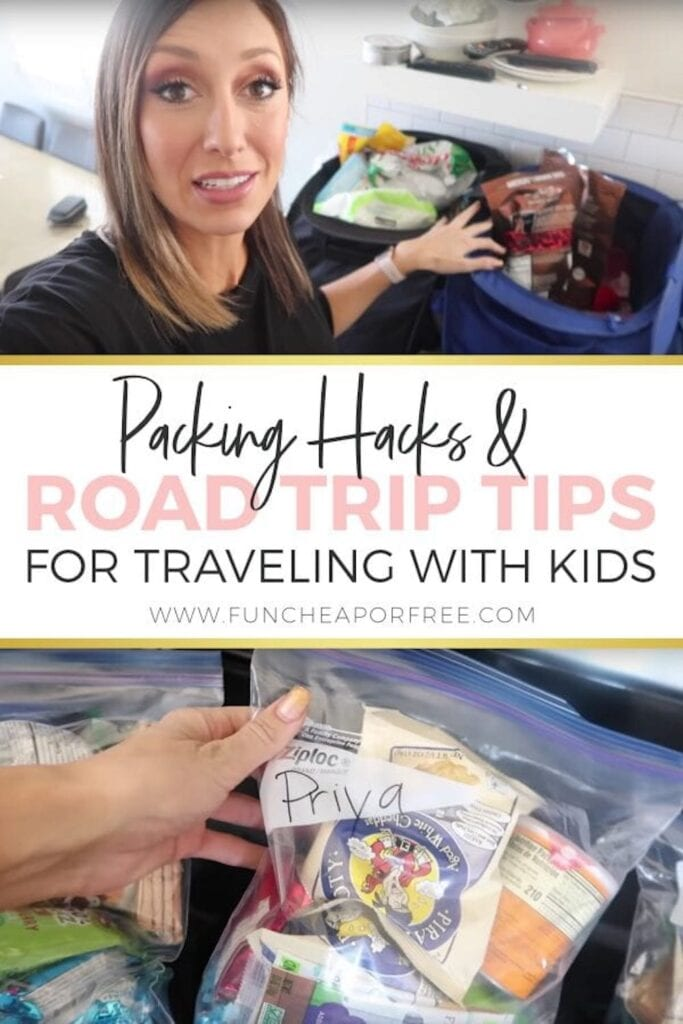 """Image with text that reads """"road trip tips"""" from Fun Cheap or Free"""
