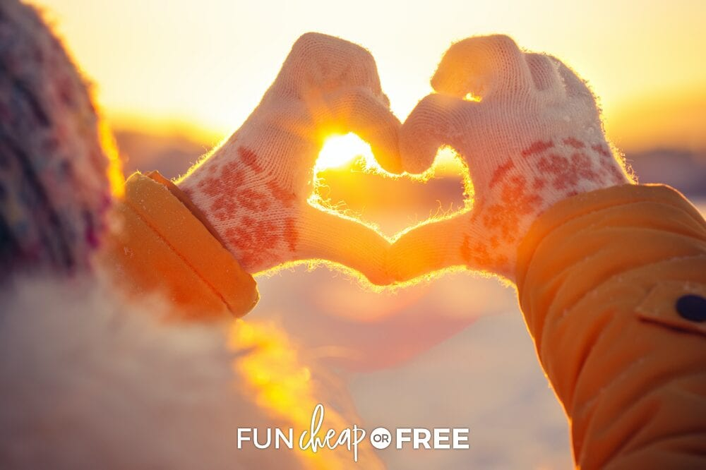 Hands making a heart in the sky, from Fun Cheap or Free