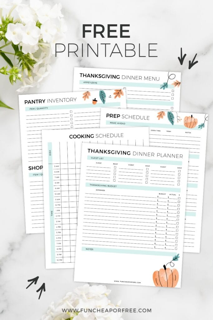 Thanksgiving dinner printables on a counter, from Fun Cheap or Free