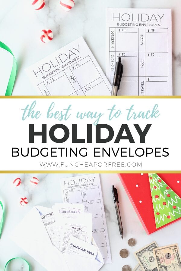 Holiday budget trackers on a counter, from Fun Cheap or Free =