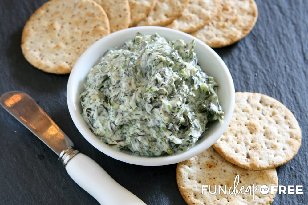 Spinach artichoke dip is one of those easy appetizers that pretty much everyone will enjoy - Tips from Fun Cheap or Free
