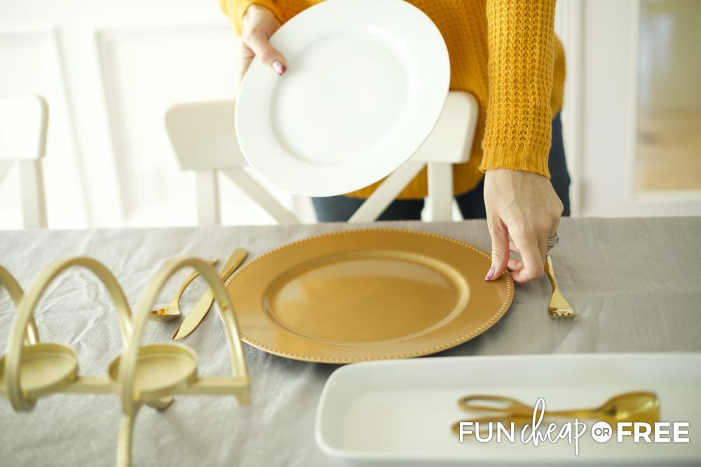 Use inexpensive chargers to make your table decorations look fancy - Entertaining on a budget tips from Fun Cheap or Free