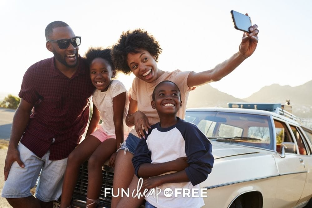 frugal family taking a selfie on road trip, from Fun Cheap or Free
