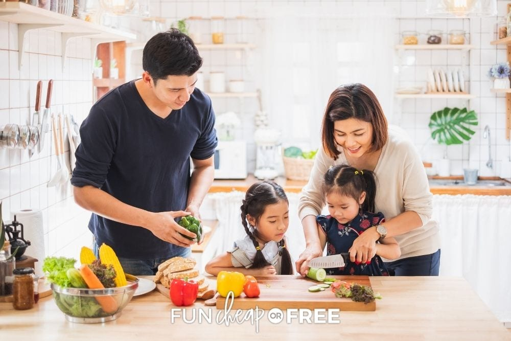 family cooking at home together, from Fun Cheap or Free