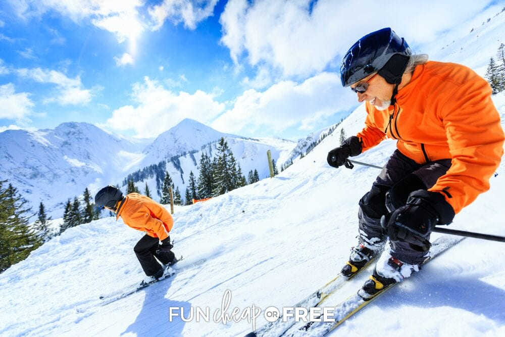 Couple skiing on a mountain, from Fun Cheap or Free