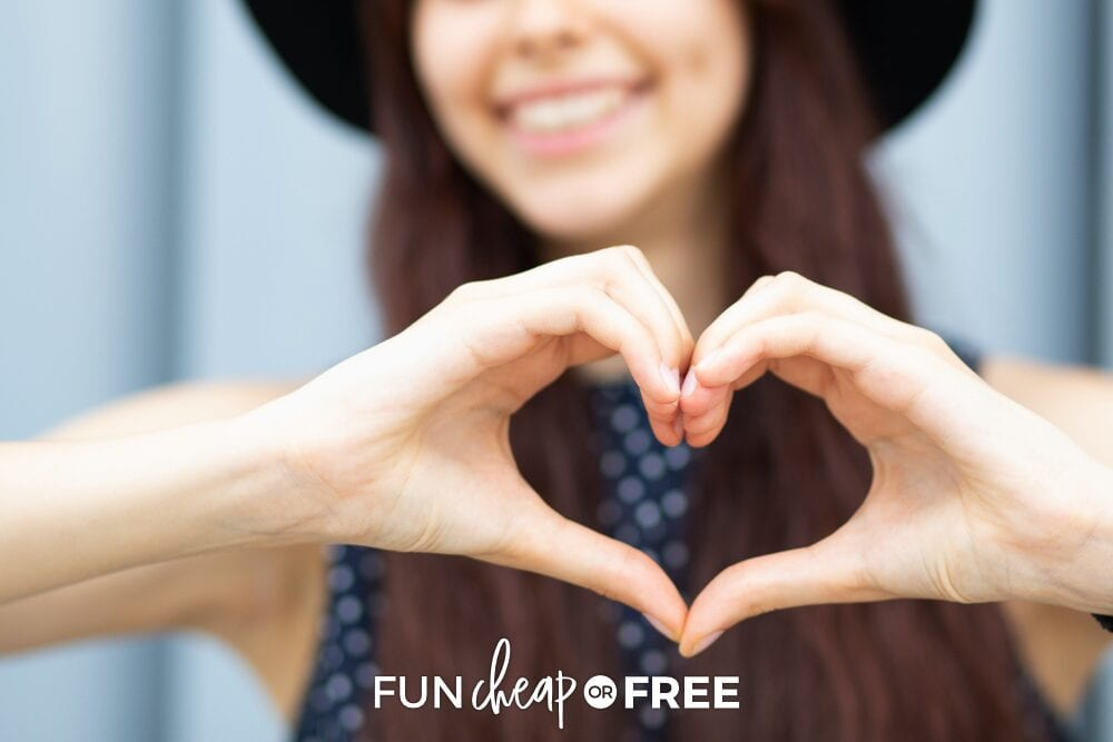Woman making a heart with her hands, from Fun Cheap or Free