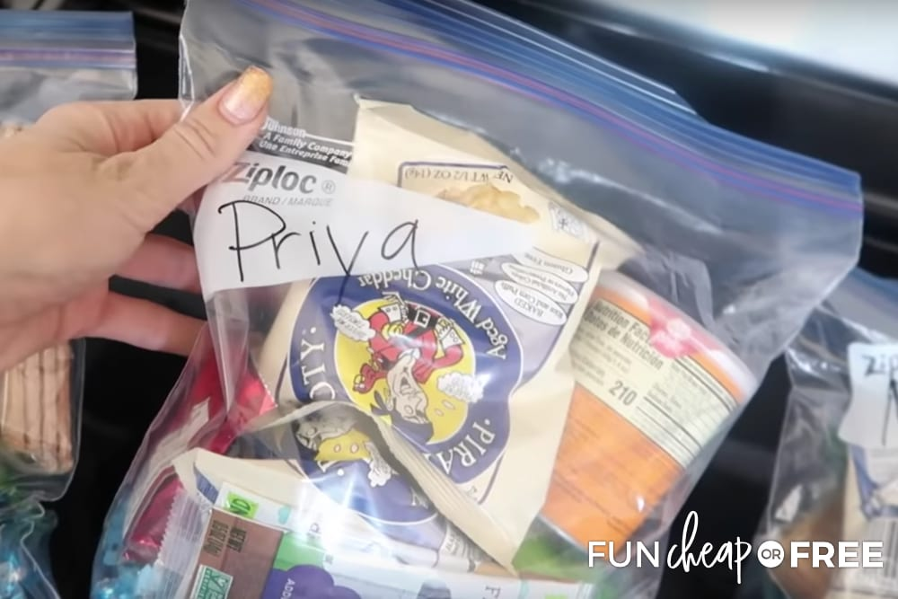 Pack individual snack bags for each kid - Road trip tips from Fun Cheap or Free