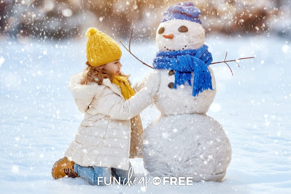 Little girl building snowman, from Fun Cheap or Free