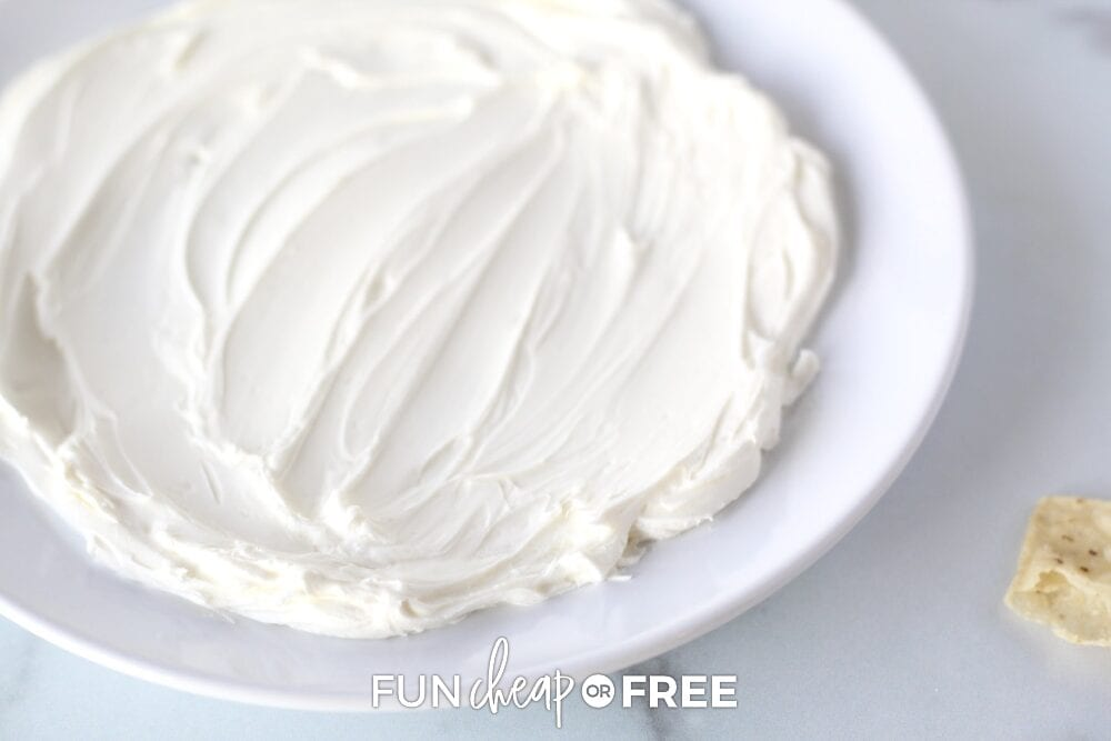 Softened cream cheese on a plate, from Fun Cheap or Free