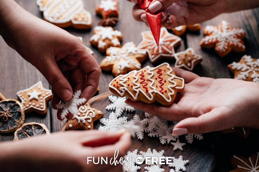 Decorating ginger bread cookies, from Fun Cheap or Free