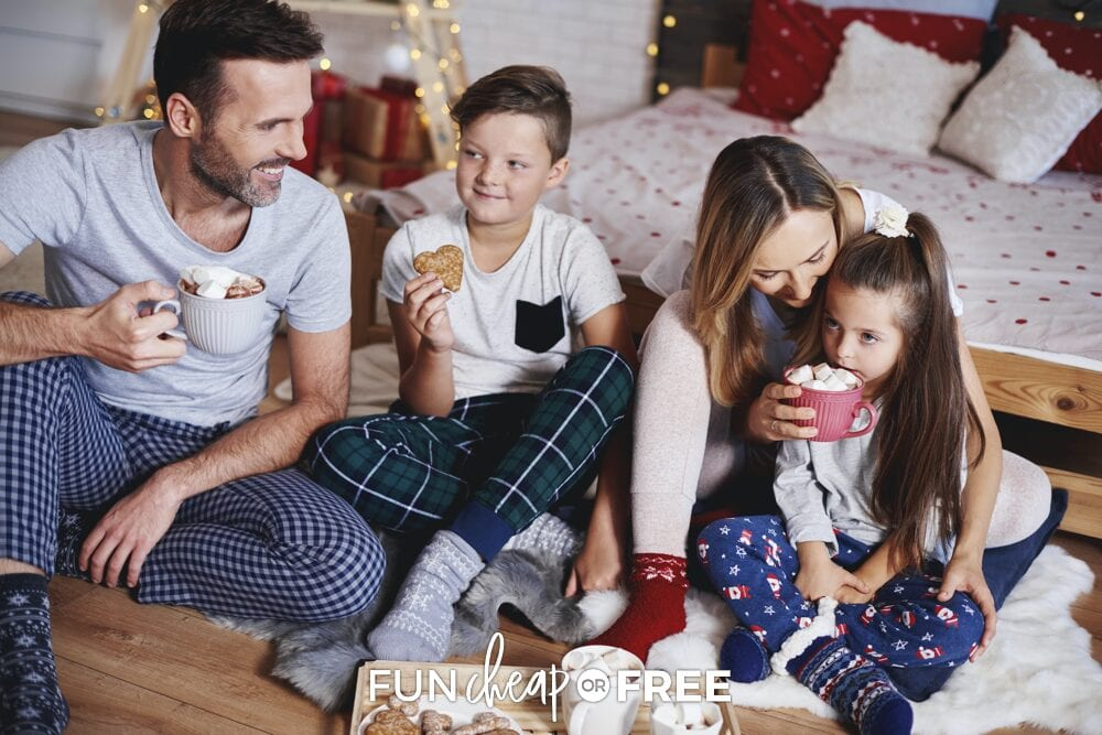 Family enjoying hot cocoa together, from Fun Cheap or Free
