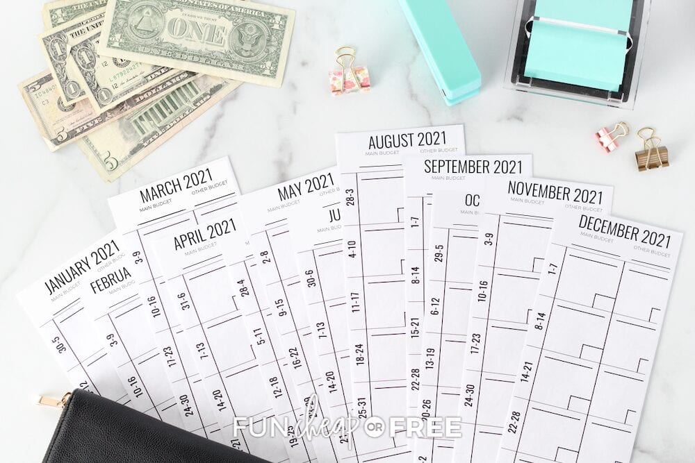 Envelope budget system on a counter, from Fun Cheap or Free