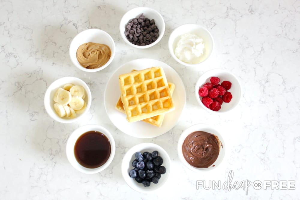 A late night waffle bar is one of the fun New Year's Eve traditions since you're staying up late anyways - Ideas from Fun Cheap or Free