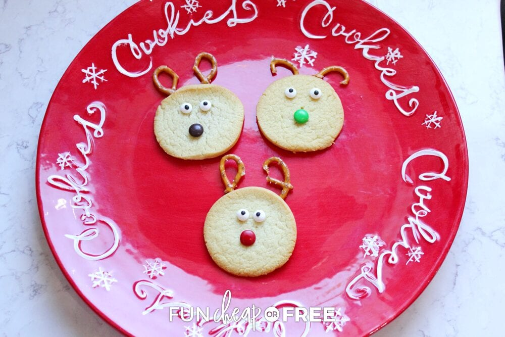 Reindeer cookies on a plate, from Fun Cheap or Free