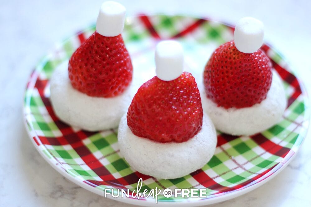 Santa hat treats on a plate, from Fun Cheap or Free