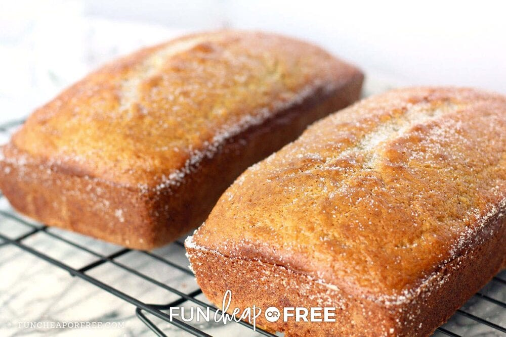 Homemade banana bread on a wire rack, from Fun Cheap or Free