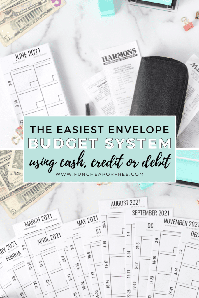 "Image with text that reads ""the easiest envelope budget system using cash, credit or debit"" from Fun Cheap or Free"