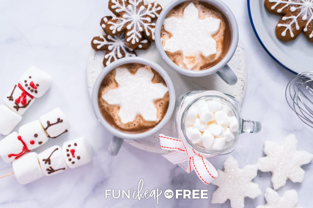Hot chocolate and marshmallows on a counter, from Fun Cheap or Free