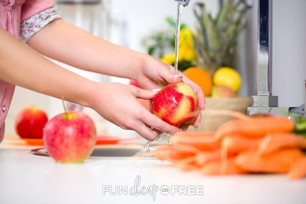 Woman washing fruit and vegetables, from Fun Cheap or Free