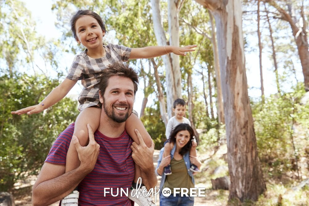 Family on a walk in the woods, from Fun Cheap or Free