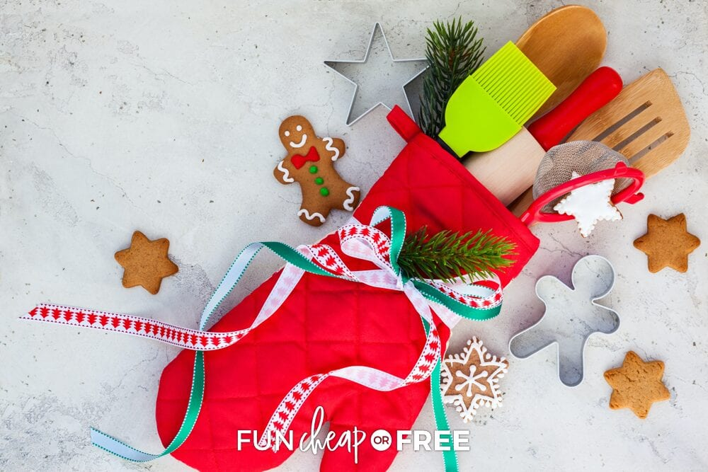Oven mitt with kitchen utensils on a counter, from Fun Cheap or Free