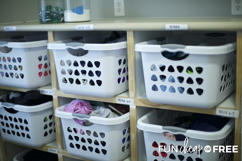 Create a system where each person has a basket of their own clothes to fold and put away - Laundry hacks from Fun Cheap or Free