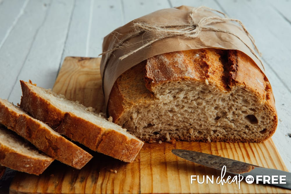 Homemade bread is a thoughtful neighbor Christmas gift - Cheap gift ideas from Fun Cheap or Free