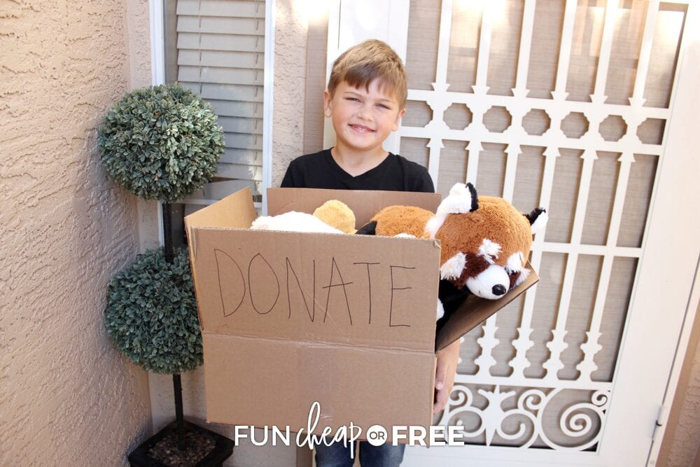 Boy holding donation box with toys, from Fun Cheap or Free