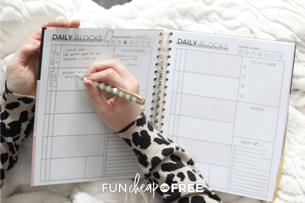 Woman writing in her Productivity Planner by The Page Company, from Fun Cheap or Free