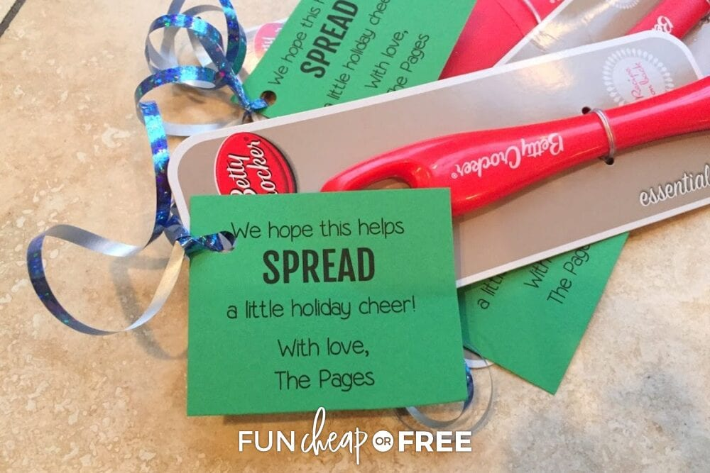 Spatula with punny Christmas saying on it, from Fun Cheap or Free