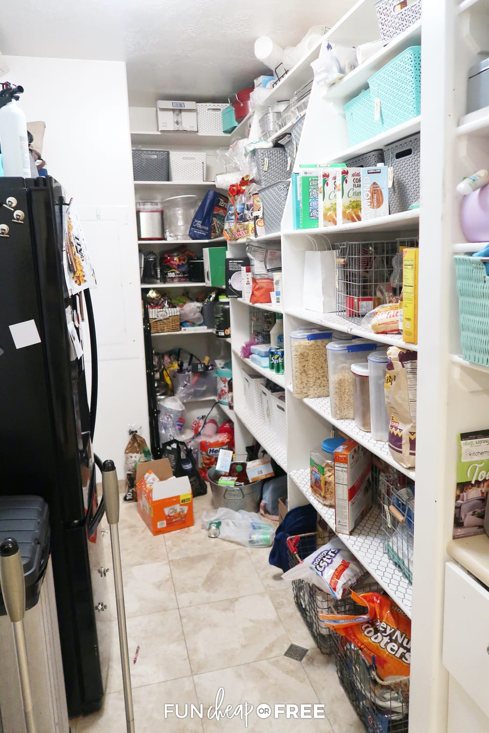 The mess in my pantry before I got it all cleaned up! Use these tips from Fun Cheap or Free to clean your pantry quickly.
