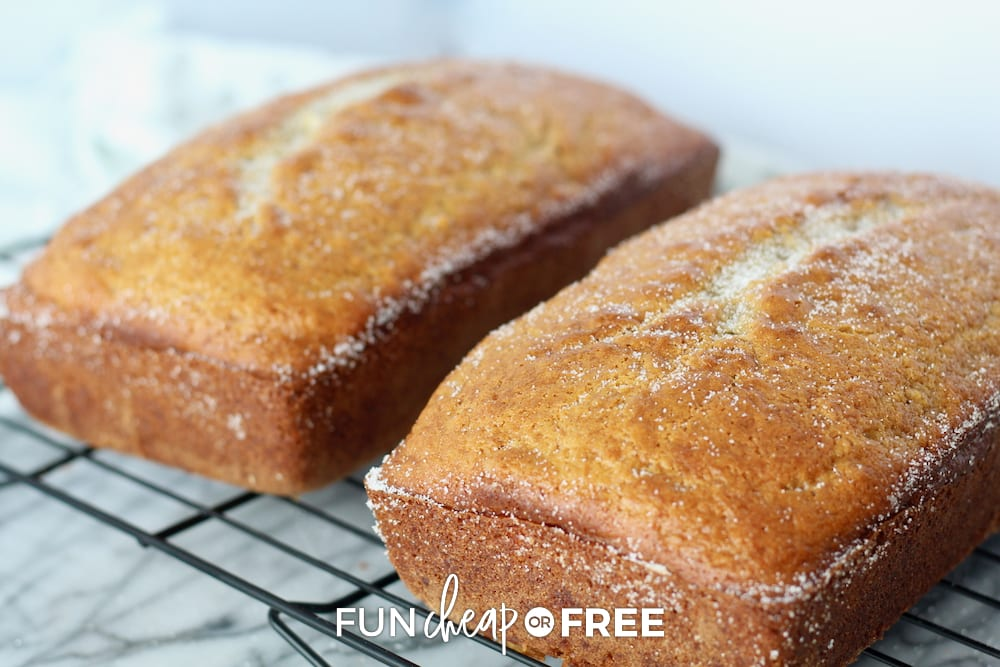 Add sugar on top of your banana bread after it gets out of the oven for a little extra something - Recipe tips from Fun Cheap or Free
