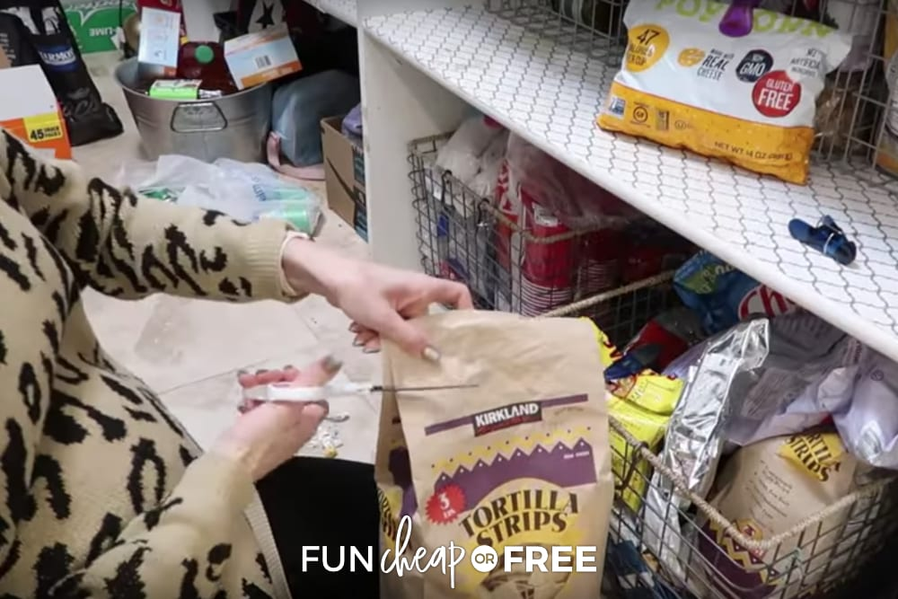 Cut the tops off of large bags to help them to close easier and take up less space - Tips from Fun Cheap or Free