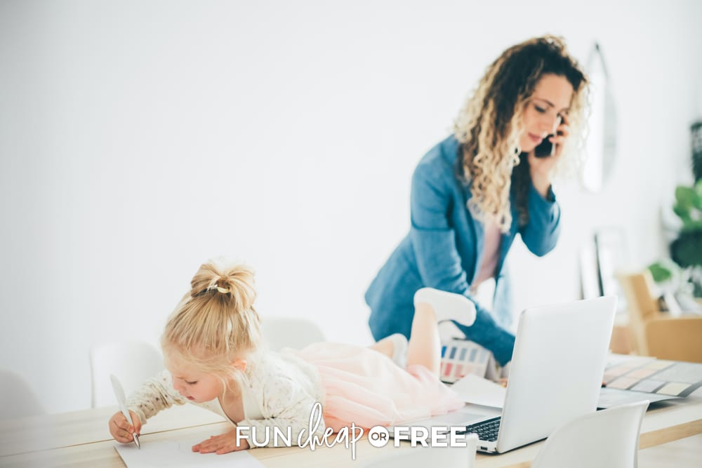 Learn some great tips from Fun Cheap or Free on how to be productive at home with kids around. You won't regret it!