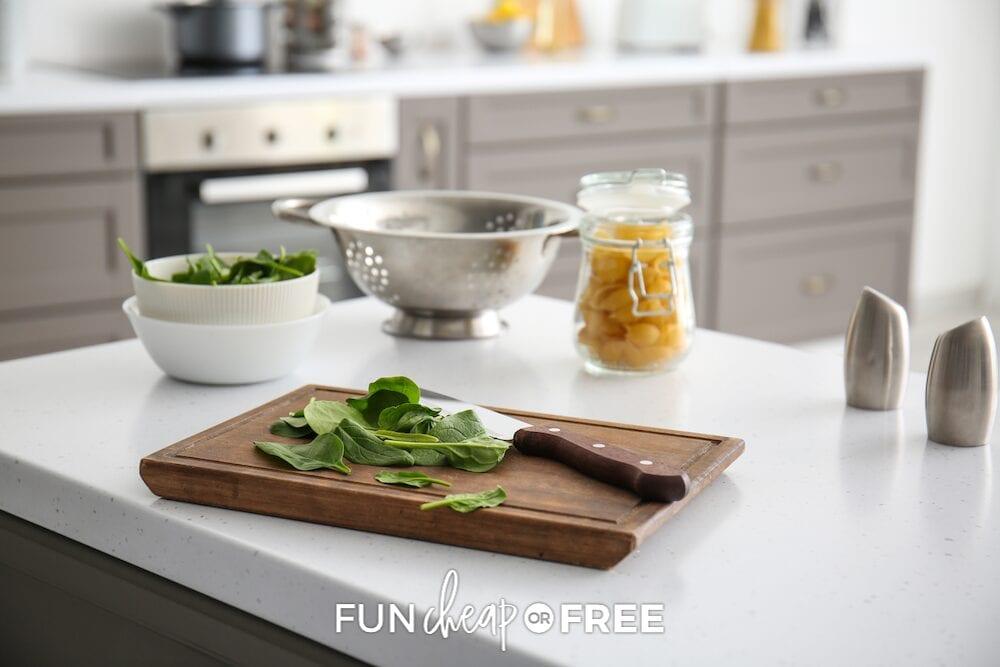 Chopped veggies on a cutting board, from Fun Cheap or Free