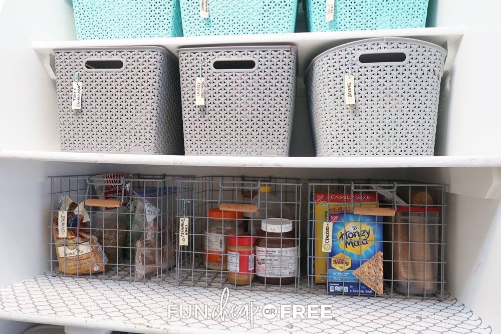Organize your pantry with baskets to keep it neat and together - Tips from Fun Cheap or Free